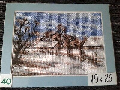 "Finished Completed Cross Stitch ""Winter"""
