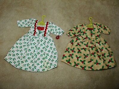 Lot of 2 Christmas Hitty Doll Dress holiday prints, hand made, SWEET!