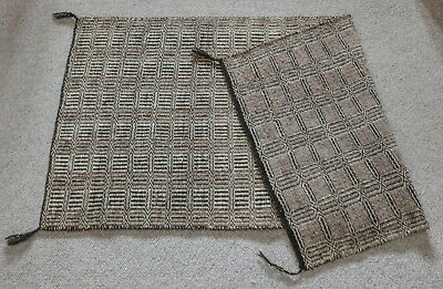 "Navajo Rug, Double Saddle Blanket, Two-Faced, Handwoven, approx. 30"" x 60"""