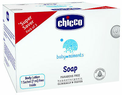3 x Chicco baby moments Baby Soap (100 gm) baby care Gently Clean Free Shipping