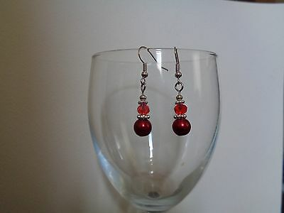 Red crystal dangle drop earrings wedding bridal bridesmaid prom party