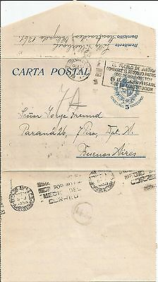 Uruguay 1939  Carta Postal Stationery Letter Prepaid 5c. Horse to B. Aires Cover