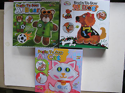 Craft Kits Kids Ready To Sew Knit Sock Various Felt Beginners Sewing Arts Sow