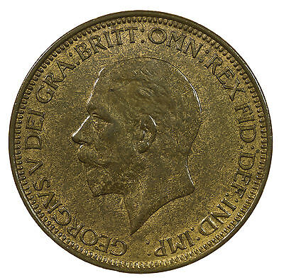 Great Britain, George V Halfpenny, High Grade, Some Lustre, 1929
