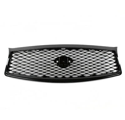 Gloss Black Eau Rouge Concept Mesh Hood Grille Grill For 2014-2017 Infiniti Q50