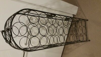 Black Cast Iron Wine Rack Very Solid, With Palm Motifs, Holds 28 Bottles