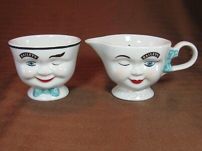 Bailey's Winking Blue Bow Creamer and Open Sugar Bowl Pair Man & Woman