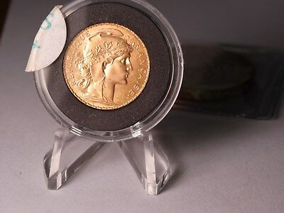 Lustrous 1913 France 20Fcs -- 999.9 Pure Gold Coin-Rooster Gem Bu+