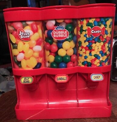 "Candy Dispenser Red Plastic For 3 Items Jelly Beans Gumballs Candy Used 7""x8"""