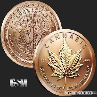 MARIJUANA LEAF COPPER MEDALLION  - Silver Shield Coin cannabis weed pot z7z
