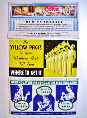 (3) Old, Advertising Ink Blotters, Unused..Yellow Pages, Miami Coke, Mentholatum
