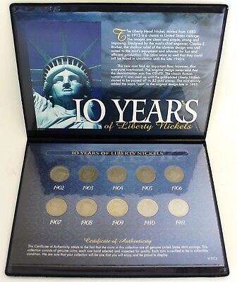 10 Years of Liberty Head Nickels 1902-1911