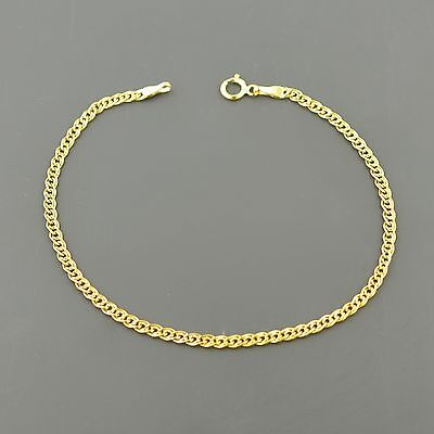 10K Yellow Gold 2.4Mm Double Curb Link 7 Inch Bracelet Free Shipping