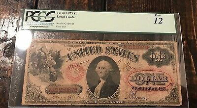 "PCGS-C Fine 12 - Fr. 26 1875 $1 United States Note ""Legal Tender"" Allison-Wyman"