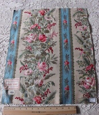 Antique 19thC French Home Cotton Rose Stripe Fabric W/Original Tags c.1870