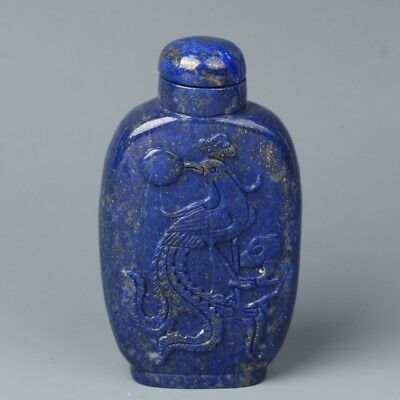 China Exquisite Hand-carved Phoenix Dragon carving lapis lazuli snuff bottle