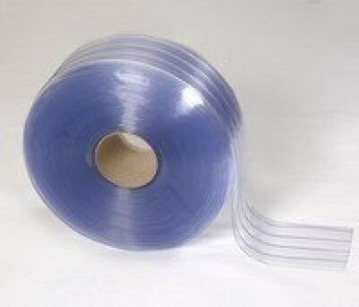 "150' Roll 8"" Wide Ribbed PVC Plastic Strip Curtain for Walk In Coolers,"