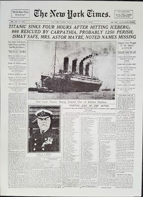 Titanic - The New York Times Newspaper Front Page Titanic Sinking April 1912