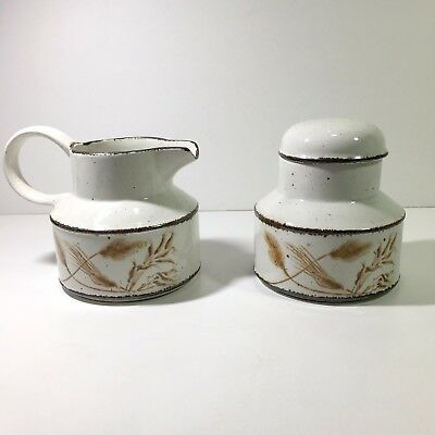 Vintage Stonehenge Midwinter Wild Oats Covered Sugar and Creamer Made in England