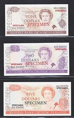 New Zealand 1981-85, Hardie, Specimen Banknote Set UNC.
