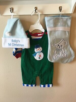 NWT Baby Boy Christmas Outfit (3 mo), Blue Stocking and Santa Hat
