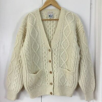 CREAM Raam PURE WOOL Cable Knit FISHERMAN CARDIGAN Wooden Buttons S