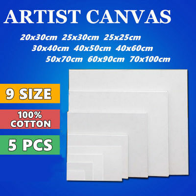 5x Blank Art White Range Oil Cotton Artist Stretched Canvas Acrylic Paint Wood