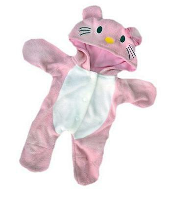 "PINK KITTY CAT ALL-IN-ONE PJ PYJAMAS FOR 16""/40cm TEDDIES & BUILD YOUR OWN BEARS"