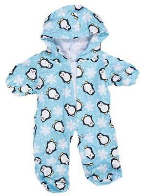 "8"" BLUE PENGUIN ALL-IN-ONE PJ PYJAMAS TEDDY OUTFIT FITS 8""-10""(20cm) TEDDY BEARS"