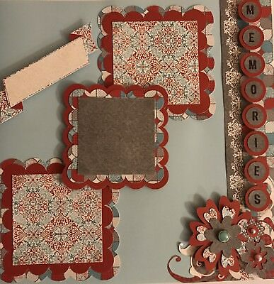 Premade scrapbook pages 12x12 Two Pages Burgundy & Teal With Flowers