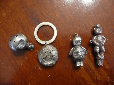 4 ANTIQUE/VINTAGE BABY RATTLES - DAMAGED - Sterling, 800 silver and silverplate