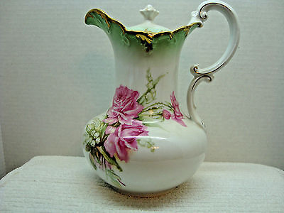 Weimar, Germany hand painted porcelain multi-color pitcher w/lid 1905.