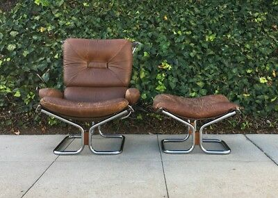 Mid Century Chrome And Leather Chair / Ottoman By Ignmar Relling For Westnofa