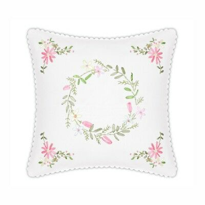 DIY Ribbon Embroidery Kit Floral Cushion Cover Printed Pattern Sewing Craft