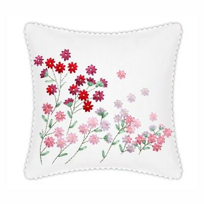 DIY Ribbon Embroidery Kit Daisy Cushion Cover Printed Pattern Craft Gift 18""