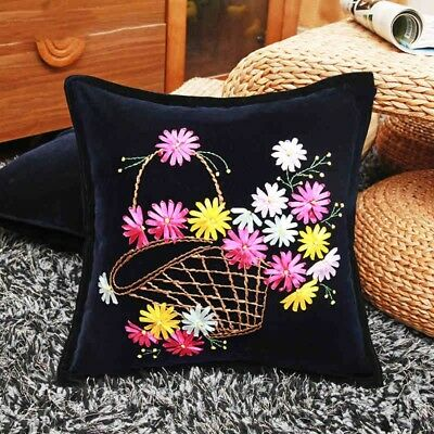 DIY Ribbon Embroidery Kit Daisy Basket Cushion Cover Marked Pattern Black 18""