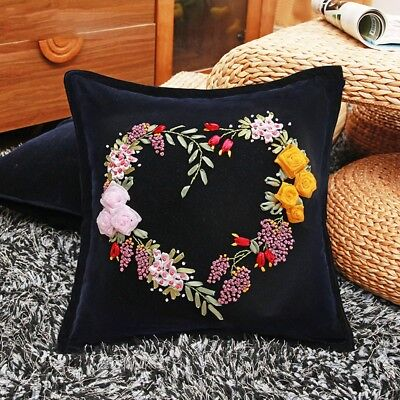 DIY Ribbon Embroidery Kit Floral Heart Cushion Cover Marked Pattern Black 18""