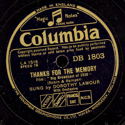 DOROTHY LAMOUR -SCHAUSPIELERIN- Thanks for the memory / Moonlight.. 78rpm  S6991