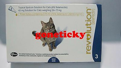 2BOXES REVO 6 DOSES TREAT FLEAS, EAR MITES CATS WEIGHING 5.1-15lbs 2.6-7.5kg