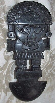 Vintage Mexico Aztec Mayan Warrior Chief Deity WALL PLAQUE Green Stone 21CmT