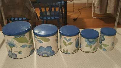 Retro 1970s Willow Tin Canisters - Set of 5
