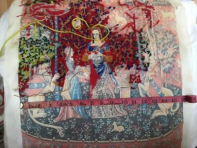 part completed tapestry - ladies and unicorn etc