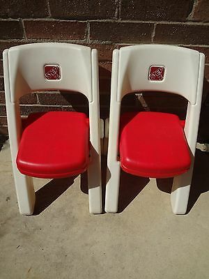STEP 2 Folding Chairs Child Toddler *LOT of 2! Matching Set of White w/Red Seats