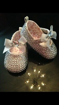 Baby Bling Party Shoes (6 - 9 Mths) Silver, New In Box