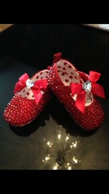 Baby Bling Party Shoes (3 - 6 Mths) Red, New In Box