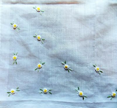 Vintage 1970s Hand Embroidered White Cotton Lawn Women's Handkerchief