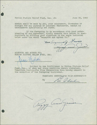 Peggy Ann Garner - Document Double Signed 06/26/1946