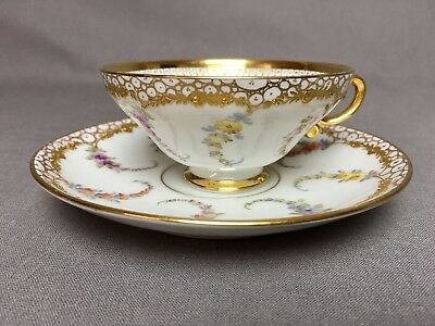 Beautiful Antique Dresden 4oz Tea/Coffee Cup & Saucer Floral Raised Gold