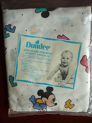 Vintage Dundee Baby Mickey Mouse & Minnie Mouse Fitted Crib Sheet New NIP Unisex