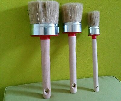 3 CHALK PAINT  & WAX shabby chic ROUND  BRUSHES  pure bristle:  60mm 30mm 20mm